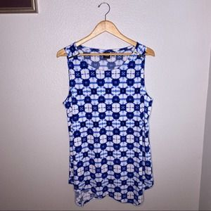 Rafaella Blue Ink Tunic Tank Size Large